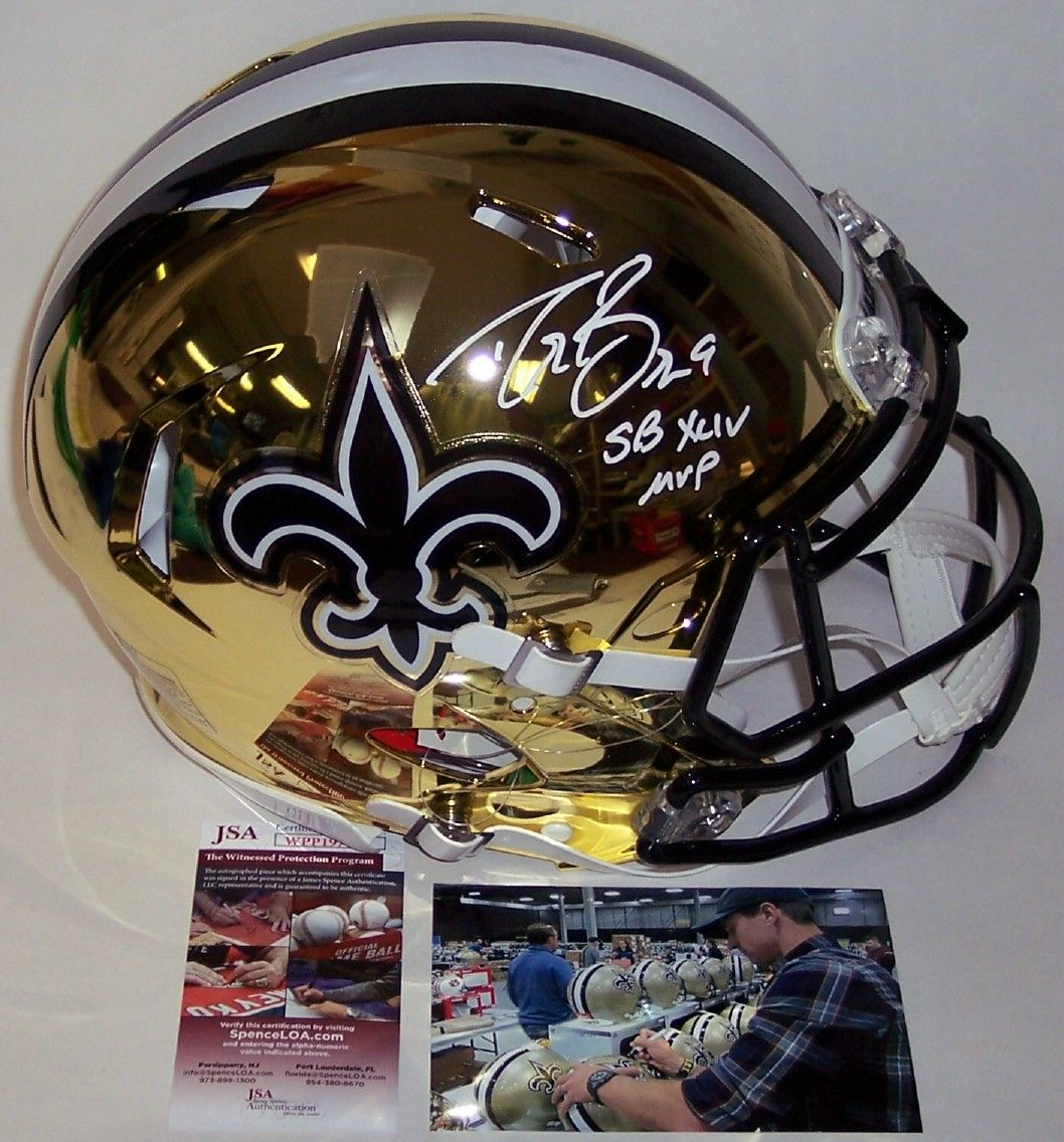 56d1333c7 Drew Brees - Autographed Official Full Size Riddell Authentic Chrome Speed  Proline Football Helmet - New Orleans Saints - JSA