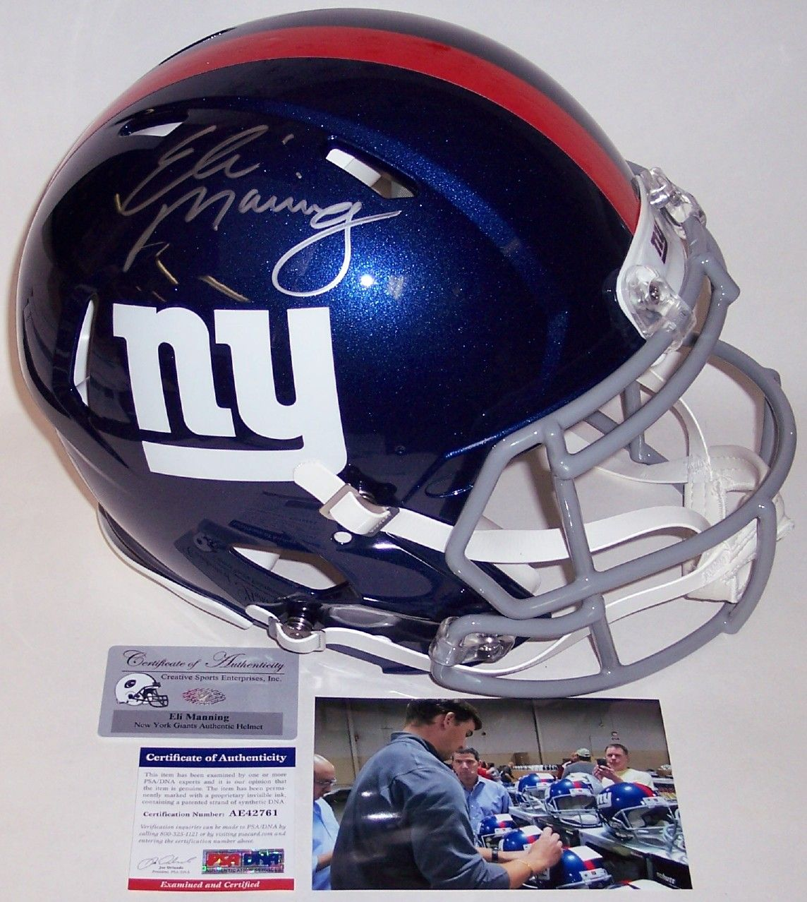 70cc08a08d2 Eli Manning - Autographed Official Full Size Riddell Authentic Speed  Proline Football Helmet - New York Giants - PSA DNA