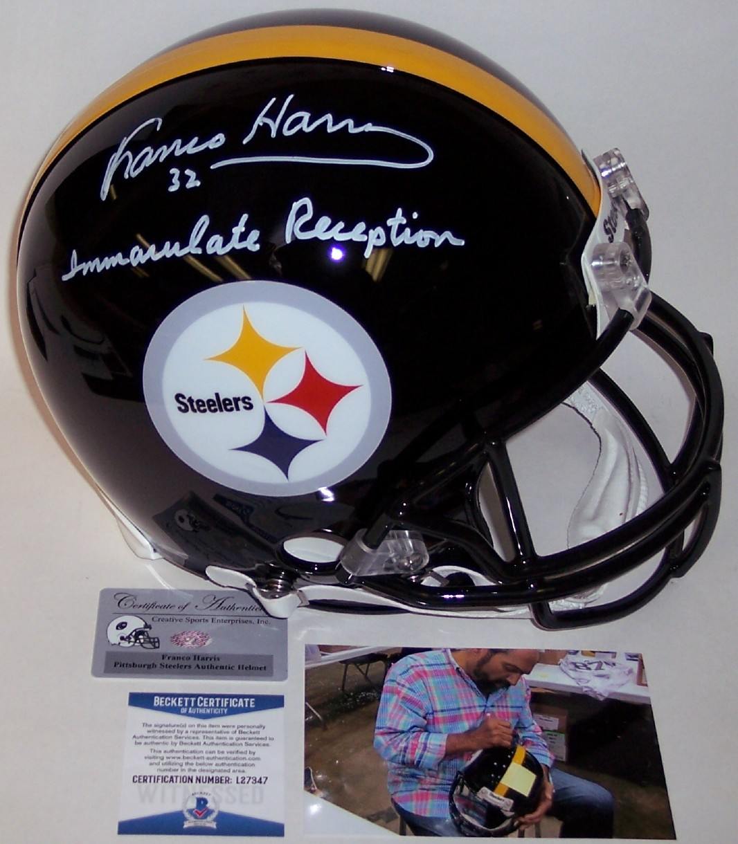 0a493a06c Franco Harris - Autographed Official Full Size Riddell Authentic Proline  Football Helmet - Pittsburgh Steelers - BAS Beckett