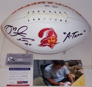 Mike Alstott - Autographed Tampa Bay Bucs Throwback Full Size Logo Football w/A-Train - PSA/DNA