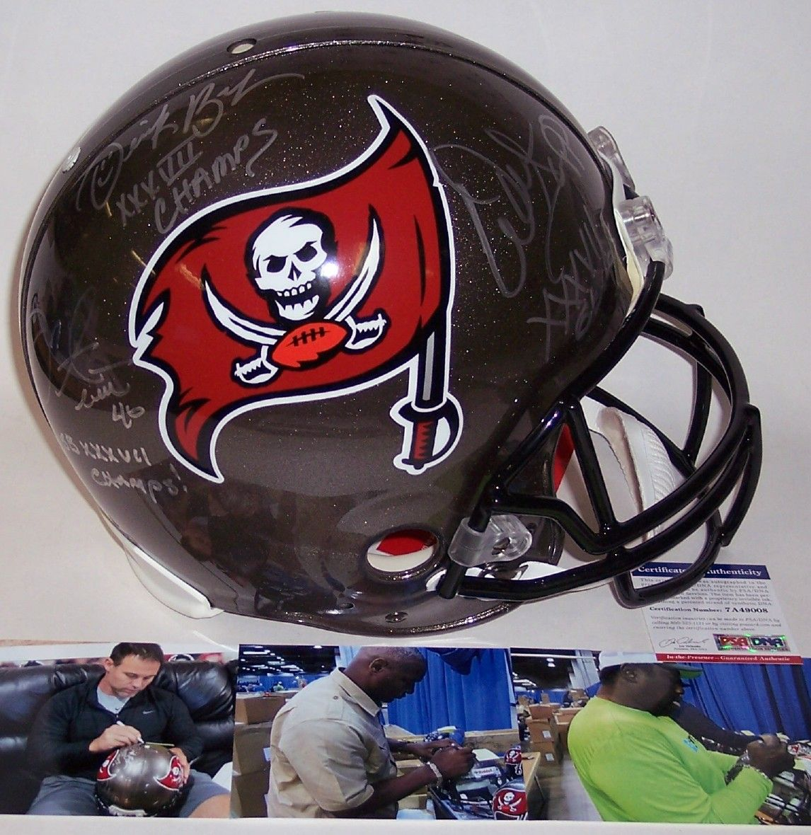 601365220 Mike Alstott, Derrick Brooks, Warren Sapp - Autographed Official Full Size  Riddell Authentic Proline Football Helmet - Tampa Bay Bucs - PSA/DNA