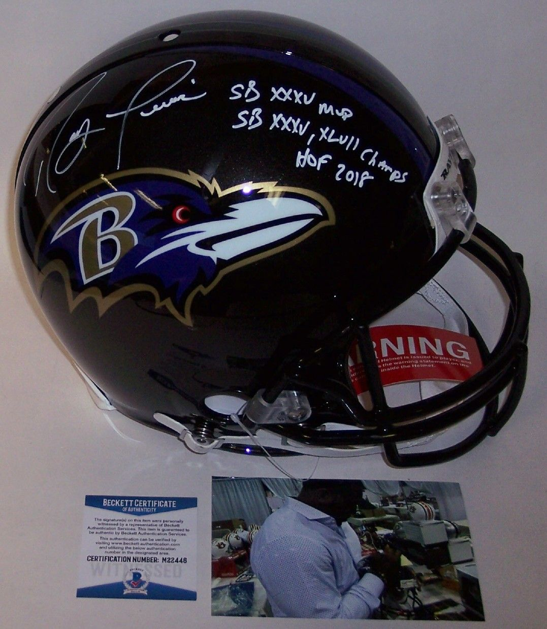 99b7e649d86 Ray Lewis - Autographed Official Full Size Riddell Authentic Proline  Football Helmet - Baltimore Ravens - BAS Beckett Authentication