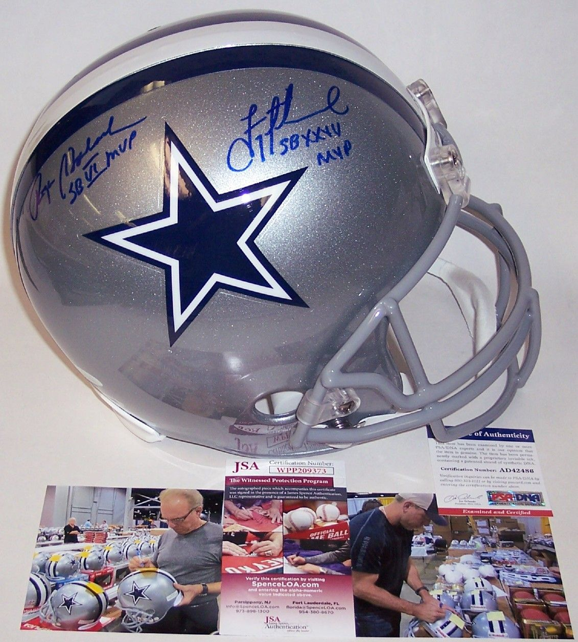 pretty nice f3ba9 644c3 Roger Staubach / Troy Aikman - Autographed Full Size Riddell ...