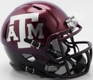 Texas A&M 2-Tone Metallic Shell Speed Riddell Mini Football Helmet