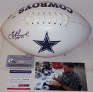 Troy Aikman - Autographed Dallas Cowboys Full Size Logo Football - PSA/DNA