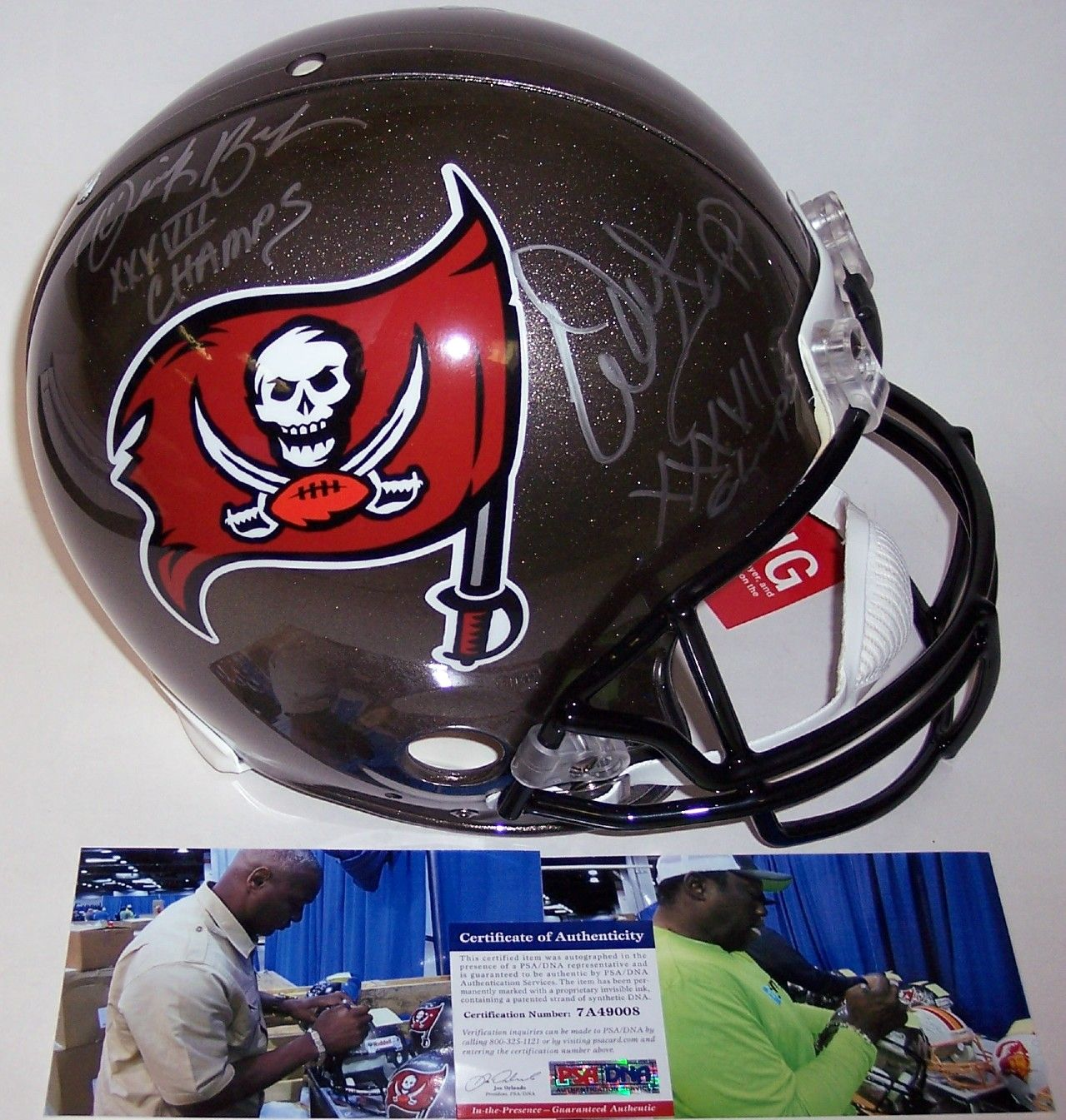 4132f12f0 Warren Sapp / Derrick Brooks - Autographed Official Full Size Riddell  Authentic Proline Football Helmet - Tampa Bay Bucs - PSA/DNA
