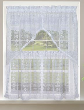 Crochet Lace Swag and Tier Curtain Pair
