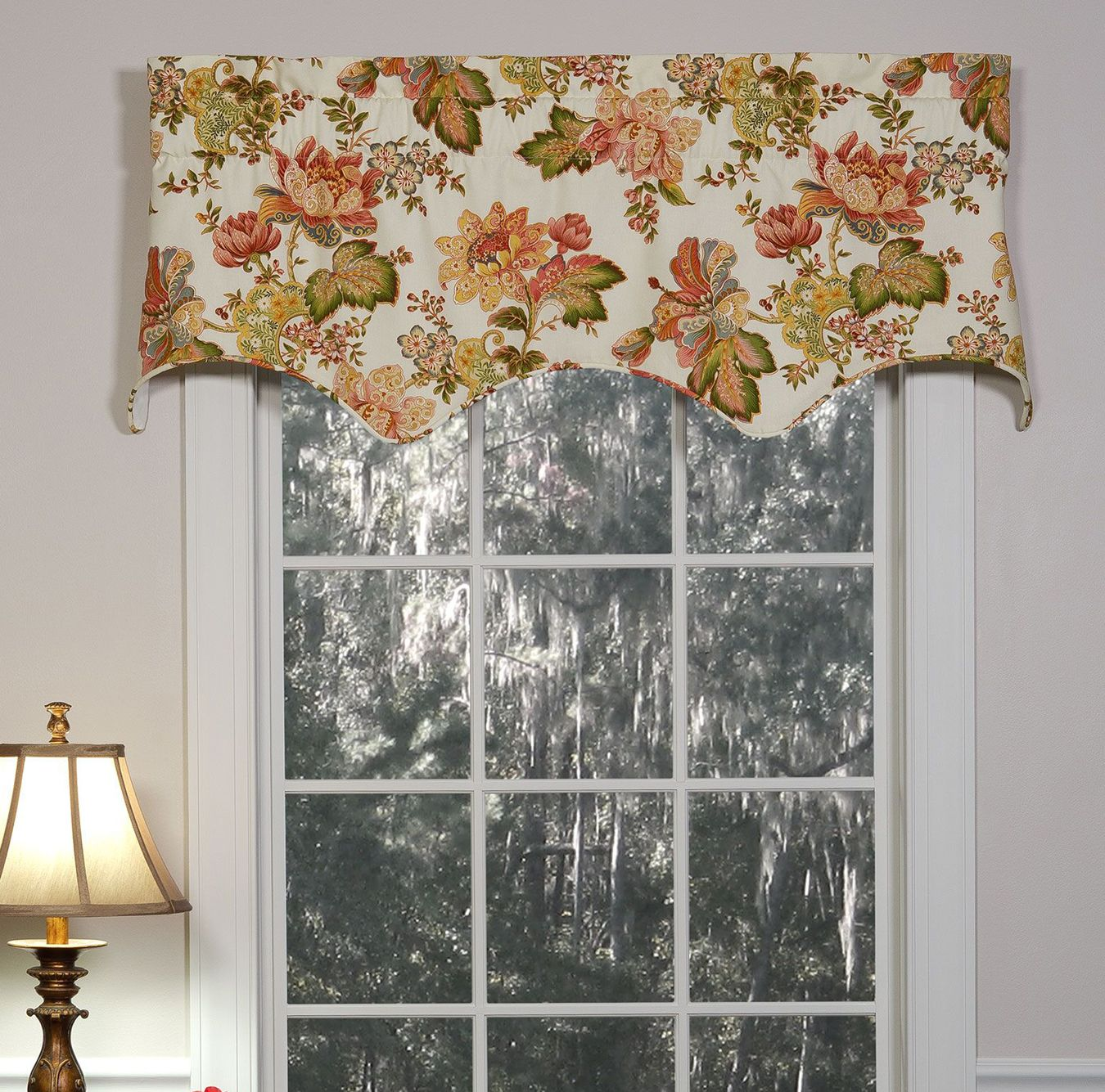WINDOW VALANCES FLORAL+SCALLOPED STRIPE LAYER Made in USA WAVERLY SET 2