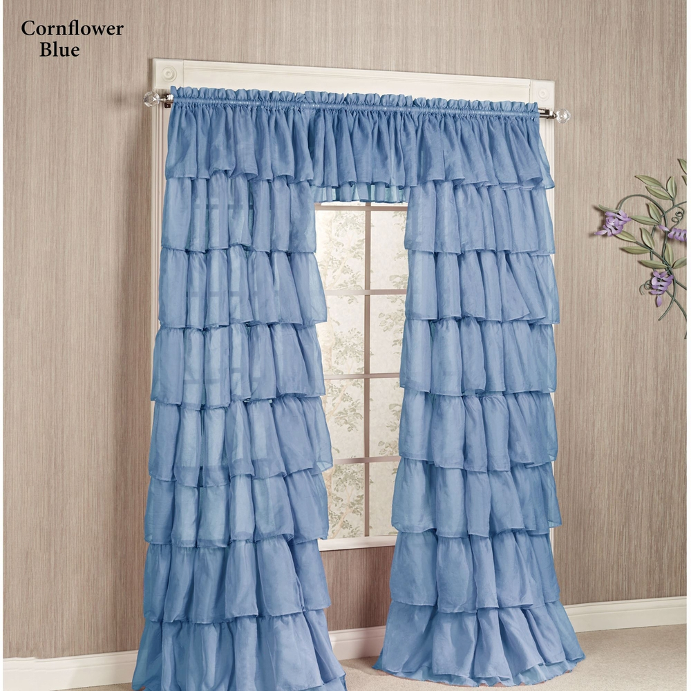 Rod Pocket Curtain Panel Gypsy Layered Ruffled Voile