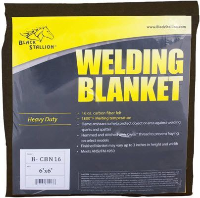 Black Stallion 16 oz. Carbon Fiber Felt Welding Blanket B-CBN16-6X6