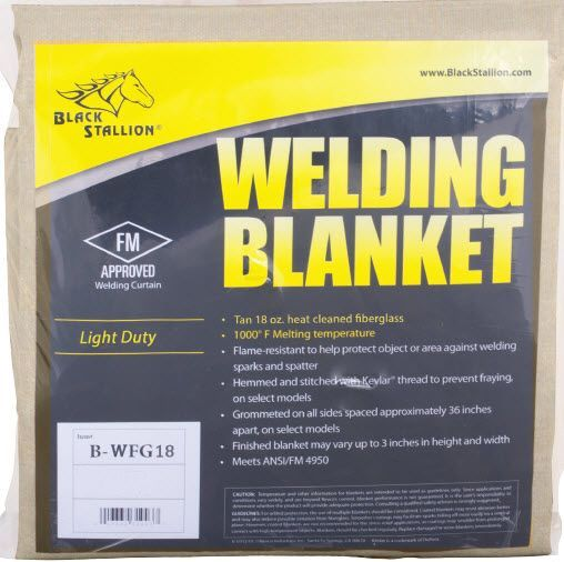 Black Stallion 18 oz. Fiberglass Welding Blanket B-WFG18-6X6
