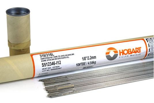 Hobart ER316L 1/8 Stainless Steel TIG Wire - 10# Tube S512346-I12