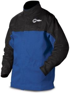 Miller Welding Jacket Size L - INDURA Cotton w/Leather Sleeves 231082