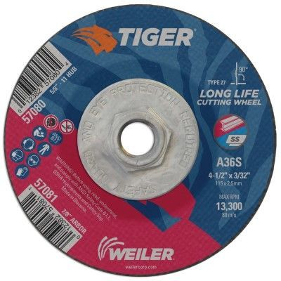 "Weiler Tiger Cutting Wheel w/Hub - 4 1/2"" X 3/32"" Type 27 57080"