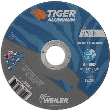 "Weiler Tiger Aluminum Cutting Wheel - 5"" X .045"" Type 1 58201"