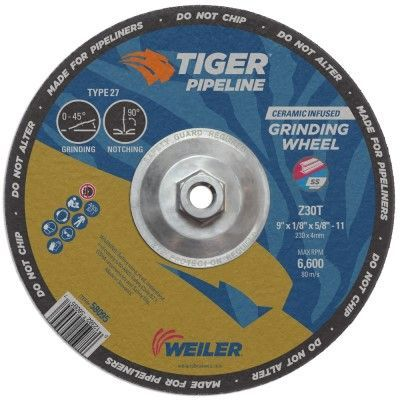 "Weiler Tiger Pipeliner Grinding Wheel - 9"" X 1/8"" Type 27 58095"