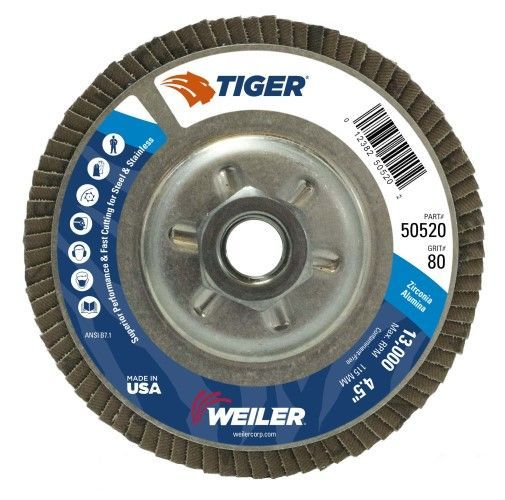 "Weiler Tiger Aluminum Back Flap Disc- 4 1/2"" Type 29 w/Hub 80 Grit"