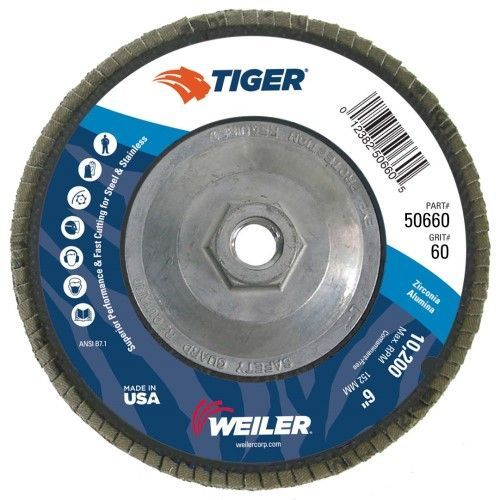 "Weiler Tiger Flap Disc - 6"" Type 29 w/Hub 60 Grit 50660"