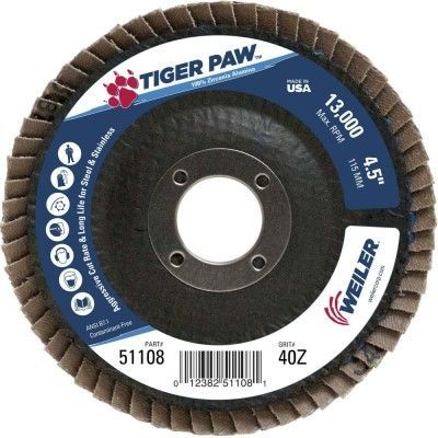 """Weiler Tiger Paw Flap Disc - 4 1/2"""" Type 27 7/8 Arbor 40 Grit 51108"""