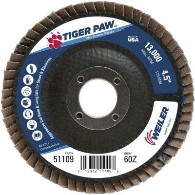 "Weiler Tiger Paw Flap Disc - 4 1/2"" Type 27 7/8 Arbor 60 Grit 51109"