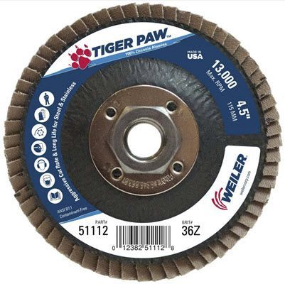 "Weiler Tiger Paw Flap Disc - 4 1/2"" Type 27 w/Hub 36 Grit 51112"
