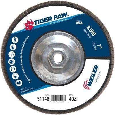 "Weiler Tiger Paw Flap Disc - 7"" Type 29 w/Hub 40 Grit 51146"