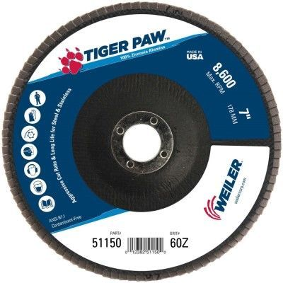 """Weiler Tiger Paw Flap Disc - 7"""" Type 29 7/8 Arbor 60 Grit 51150"""