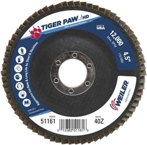 """Weiler Tiger Paw HD Flap Disc - 4 1/2"""" Type 27 7/8 Arbor 40 Grit 51161"""