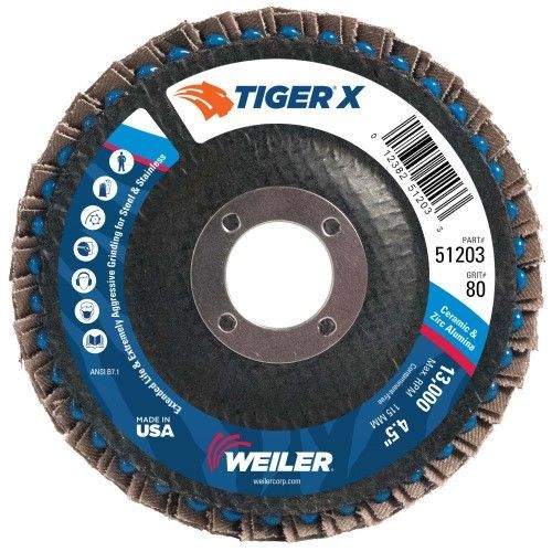 "Weiler Tiger X Flap Disc - 4-1/2"" Type 29 7/8 Arbor 80 Grit 51203"