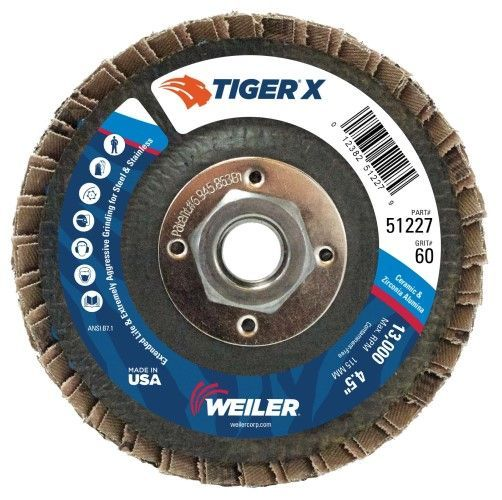 "Weiler Tiger X Flap Disc - 4-1/2"" Type 27 w/Hub 60 Grit 51227"