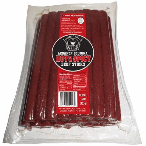 Lebanon Bologna Hot & Spicy Beef Sticks 1 Pound Bag