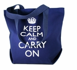 Keep Calm and Carry On Tote Bag Blue