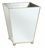 Mirrored Bath Accessories Wastebasket Silver