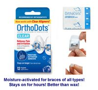 """OrthoDots Moisture-Activated """"Wax"""" for Braces & Invisalign - 12 Pack"""