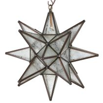 "15"" Ice Crystal Frosted Glass Hanging Star Light"