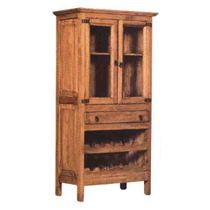 2 Door Rustic Pine Mexican Cupboard with Wine Rack and Drawer