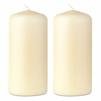 "2"" x 4"" Ivory Pillar Candles  - Set of 2"