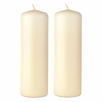 "2"" x 6"" Ivory Pillar Candles - Unscented - Set of 2"