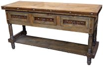 3 Drawer Rustic Wood Sofa Table with Iron Accents