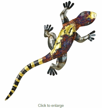 3D Metal Copper Gecko Wall Art - Extra Large