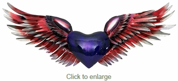 3D Metal Heart with Wings