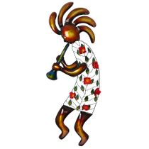 3D Metal Kokopelli with Flowers - Extra Large