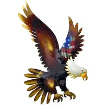3D Metal Wall Art Bald Eagle with American Flag- Small