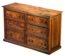 6-Drawer Low Boy Dresser with Copper