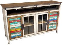 "60"" White Painted Wood TV Console with Multi-Color Slat Doors and Glass"