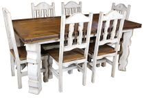 7-Piece Rustic Wood White Washed Dining Set - 72""
