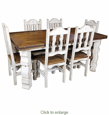 7-Piece Rustic Wood White Washed Dining Set - 72