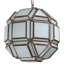 """8-Sided Geometric Frosted Glass Hanging Light Fixture - 12"""" Dia."""