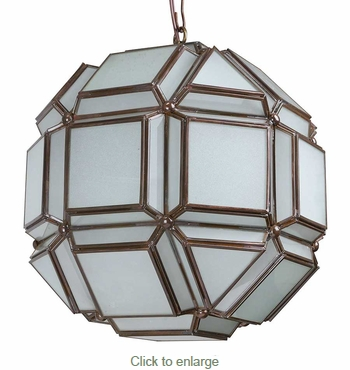 8-Sided Geometric Frosted Glass Hanging Light Fixture - 12