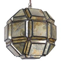"""8-Sided Geometric Old Mirror Glass Hanging Light Fixture - 12"""" Dia."""